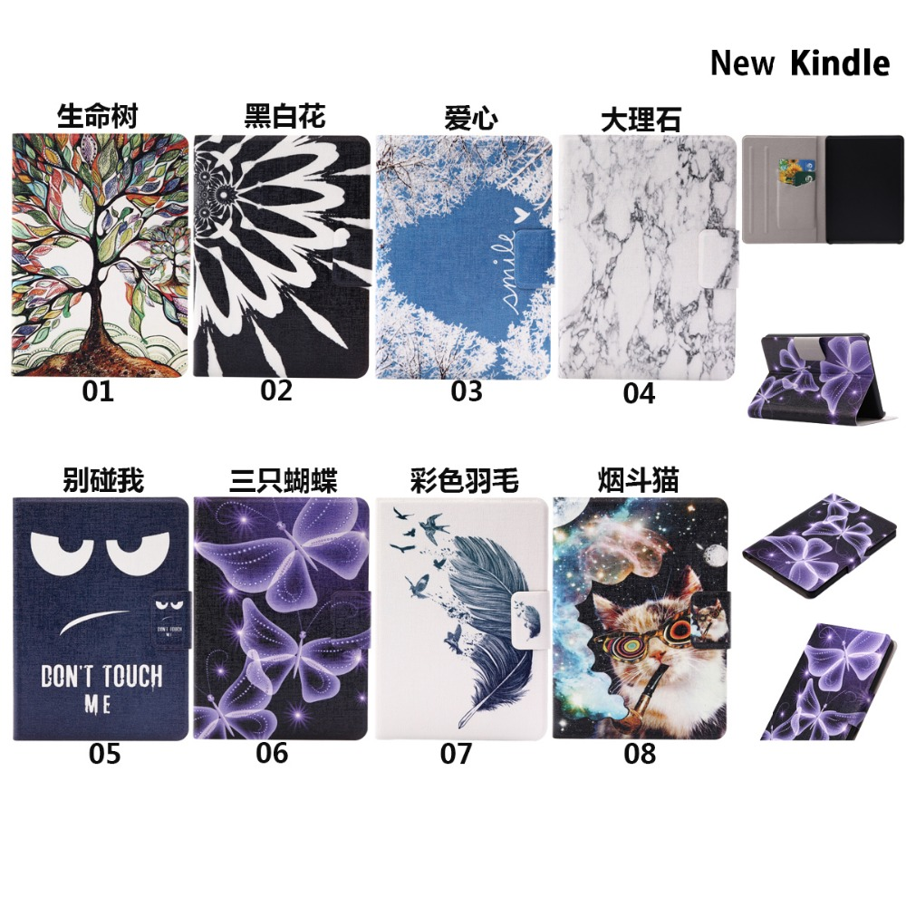 Ultra Slim Retro Cartoon Print Stand Card Holder Protective Skin Shell Cover Case For Amazon Kindle 8th 2016 Kindle 558 E reader