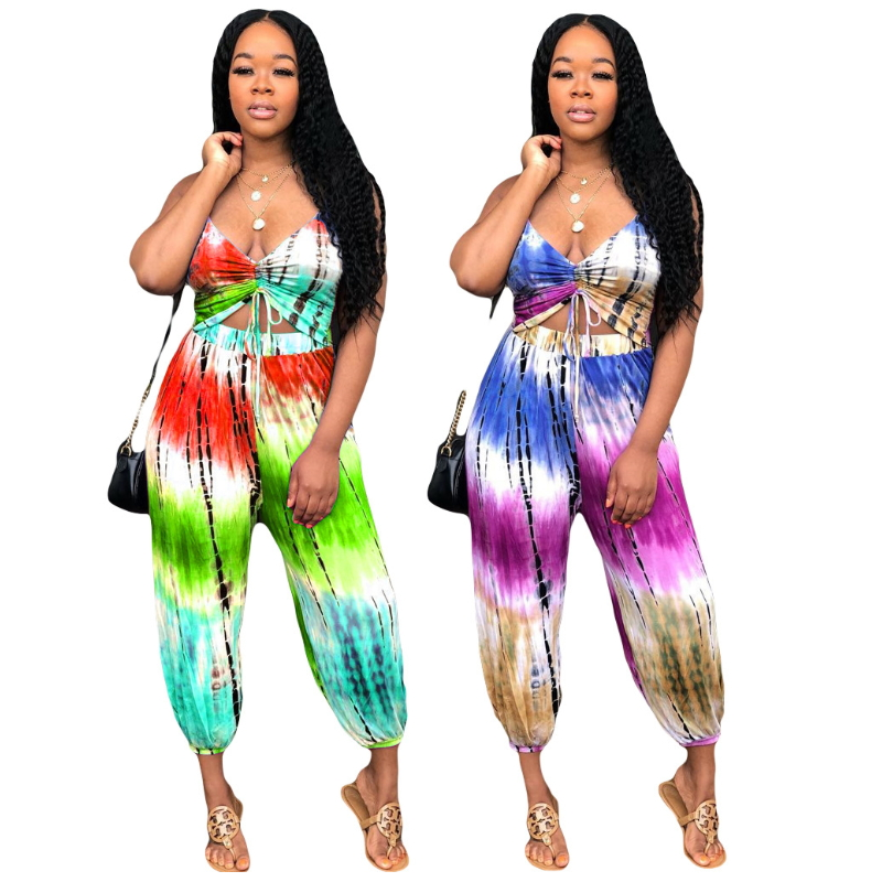 Halter Outfits Backless Crop Top And Bloomers Pants Two Piece Set Tie Dye Print Sweat Suit Sexy Wide Leg Summer Loose Harem 2019