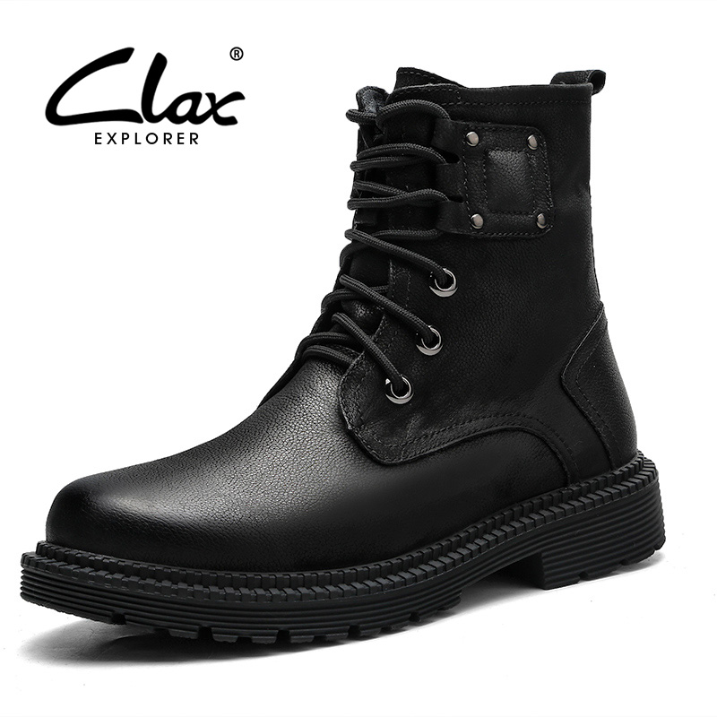CLAX Mens High Boots Genuine Leather Autumn Casual Motorcycle Boots Male Shoe Winter Boot Fur Warm Snow Shoes clax mens boot spring autumn ankle boot genuine leather male casual leather shoe winter boots men snow shoes fur warm plus size