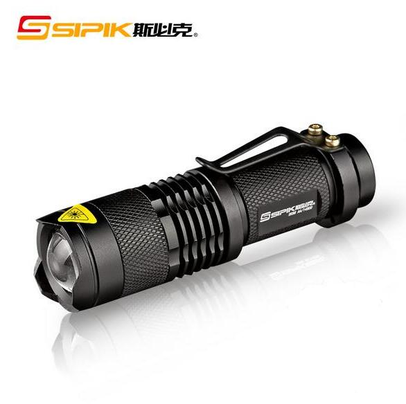 100% Original SIPIK SK68 CREE 200 Lumen Convex Lens LED Flashlight w/ Cree Q5-WC 3 Mode +1*AA/1*14500 Battery