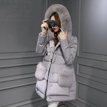 Размера плюс теплый меховой воротник с капюшоном парка куртка пальто европейский стиль средней длины розовый женские зимние куртки Casacos WUJ0524