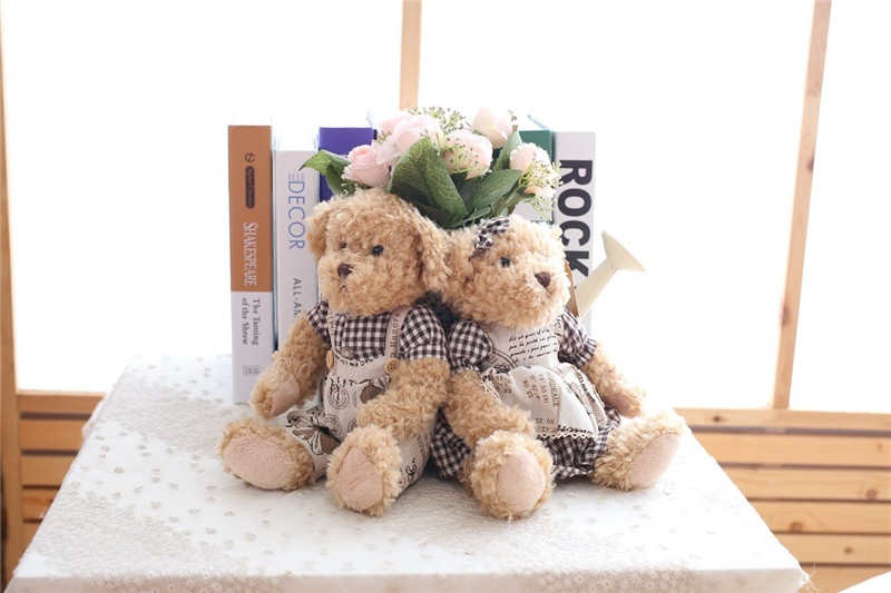 Cute Couple Teddy Bear Plush Toys Couple Bear Wedding Teddy Bears Soft Stuffed Dolls Valentine Day Kids Friends Lovers Birthday Christmas Gift 26cm 1 Pair (13)