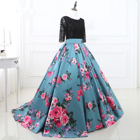 New Arrival Black And Blue Satin Printed Prom Dresses With Lace Half Sleeve Scoop Neck Backless