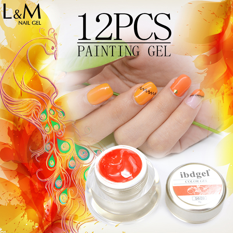 12 Pcs Painting Gel Nail Polish ibdgel Brand Glitter DIY Paint Design Color Nail Art Salon Gel Polish 12 color nail art paint pens set 12 pcs