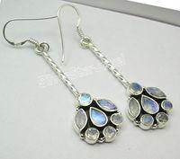 Silver PERIDOT Stone Dangle Earrings 5.4CM Religion Jewelry Variation