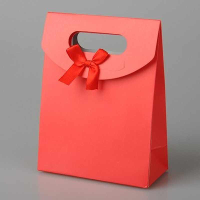 "60 Buah/Banyak 16.3X12.3Cm (6.41 ""X 4.84"") kertas Hadiah Tas dengan Pita Ikatan Simpul untuk Valentine Hari Ibu Hadiah Pernikahan Kemasan"