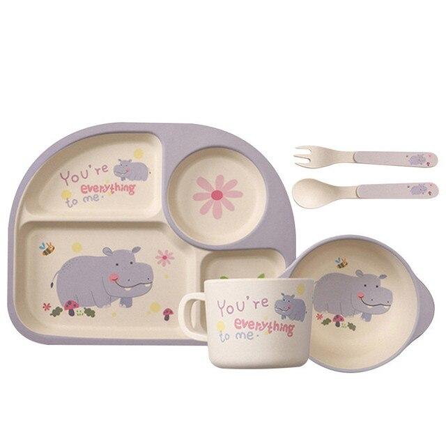 5 PCS/set Baby Bamboo Fiber Tableware Set Cartoon Bowl Environmentally Friendly Baby Kids Plate Set Solid Feeding