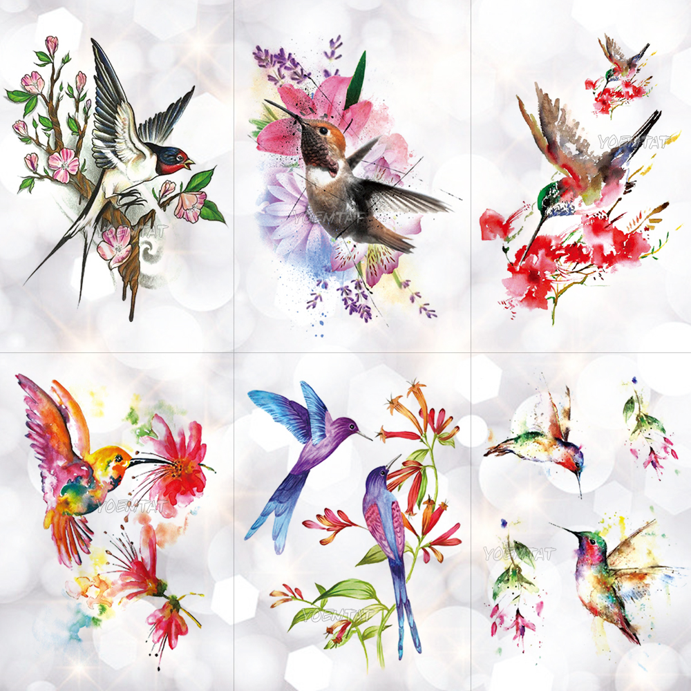 Hummingbird Flower Watercolor Temporary Tattoo Sticker Plum Blossom Waterproof Tattoos Body Art Arm Fake Tatoo Women Girl