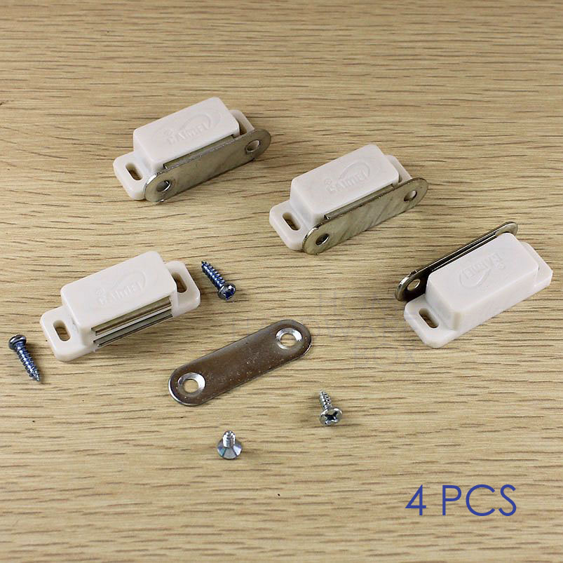 Pack Of 4 Magnetic Door Catch White Wardrobe Kitchen Cabinet Latch