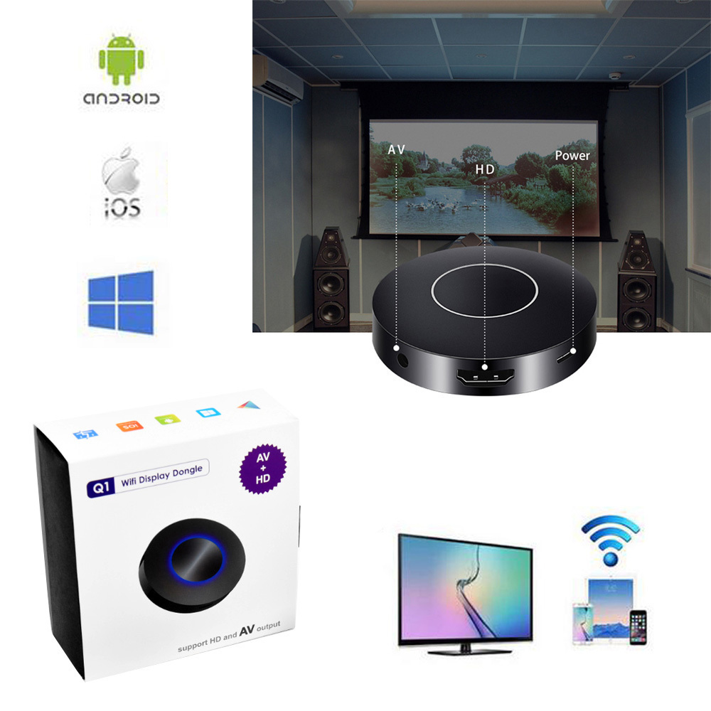 Wifi Display del Ricevitore PC Android Media Player per Android IOS AnyCast Wireless DLNA Airplay Dongle HD e AV TV Stick Push Cast