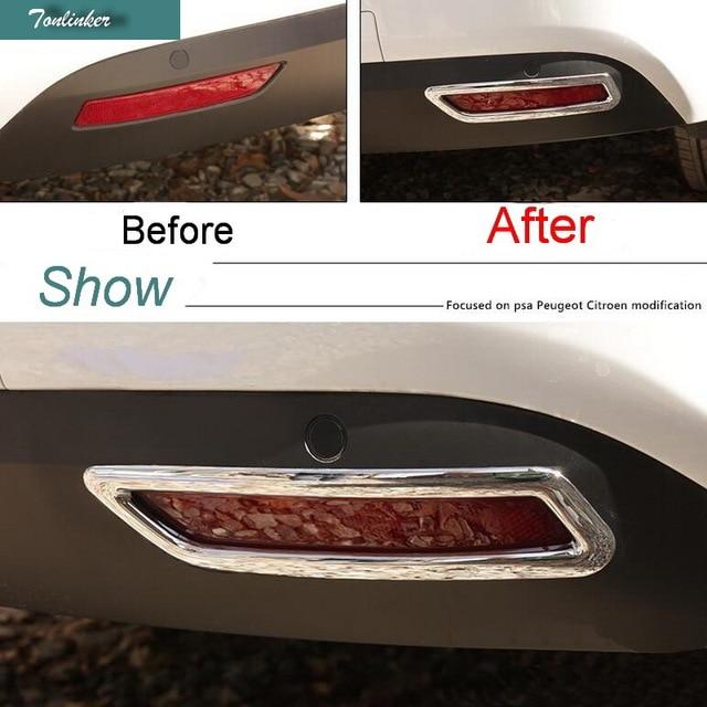 Tonlinker 2 предмета DIY автомобиля Стайлинг ABS Chrome задних противотуманных фар поле наклейки чехол наклейки для Citroen C4 2016 аксессуары