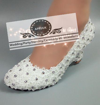 encaje blanco bombea los zapatos mujer cuñas tacón deslizamiento en