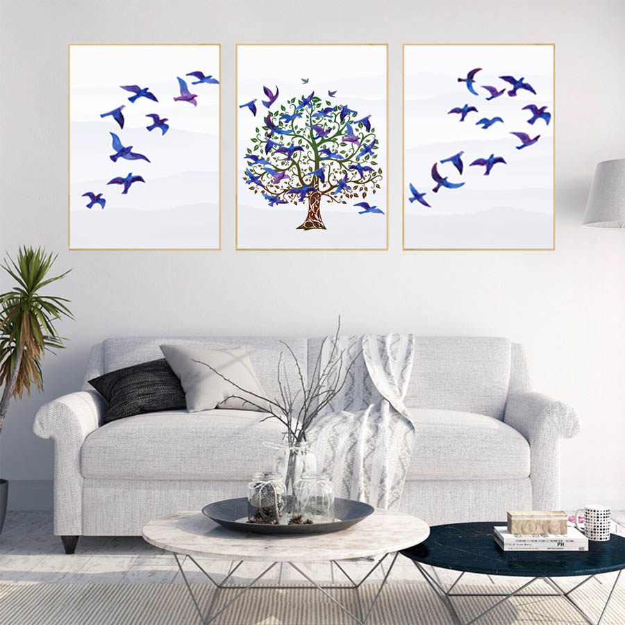 Landscap blue birds tree wall painting for living room modern posterprints canvas picture for bedroom home decor wall art mural