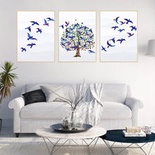 Landscap Blue Birds Tree Wall Painting For Living Room Modern Poster&Prints Canvas Picture For Bedroom Home Decor Wall Art Mural(China)