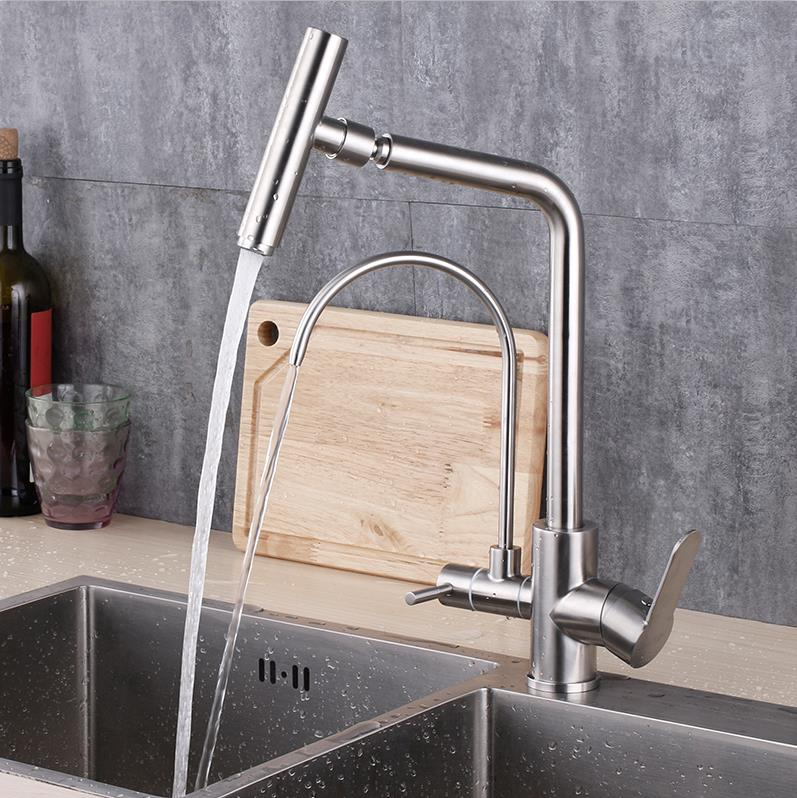 drinking water tap kitchen sink faucet hot and cold and drink water mixer 304 stainless steel цена 2017