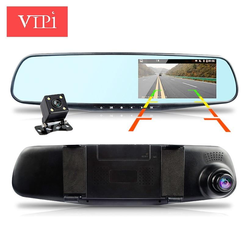 imágenes para Full hd 1080 p de doble lente de la cámara del coche del espejo retrovisor automático visión nocturna de estacionamiento de coches dvr grabador de vídeo registrator dvrs dash cam