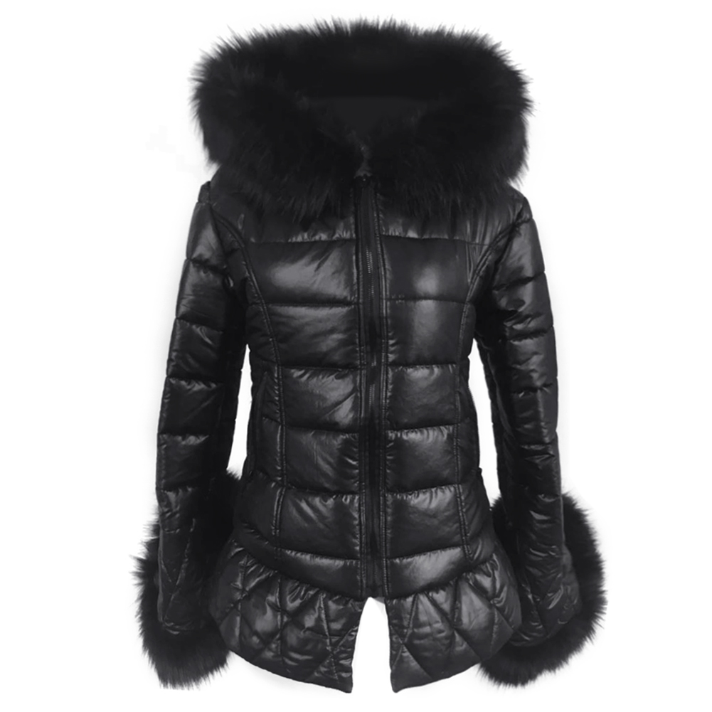 Fancy Faux Fur Leather Long Down Parkas Women Warm Winter Coat Fur Hooded Sleeve Female Fox Fur Coats Plus Size Jacket Outwear winter fur coat 2015 new women imitation mink elegance long sleeve faux fur coats long jacket warm outwear with belt qy241
