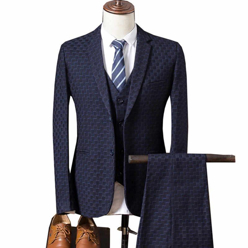 e1d1aeb811e Jacket Vest Pants 2018 Spring New Men s Casual Three-piece Suits sets   Male  Business