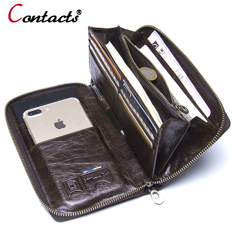 Contact's Genuine leather wallet men clutch wallet male passport card holder money coin purses Phone cases wrist men clutch bags business men clutch bags classic wallet genuine leather male cell phone purse long style card holder clutch bags