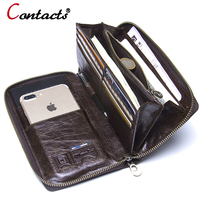 Contact S Genuine Leather Wallet Men Clutch Wallet Male Passport Card Holder Money Coin Purses Phone
