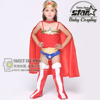 Girl Wonderwoman Costume Cosplay Supergirl Set Halloween Cosplay Party Super Hero Leotard with Cape Carnival Clothes Set