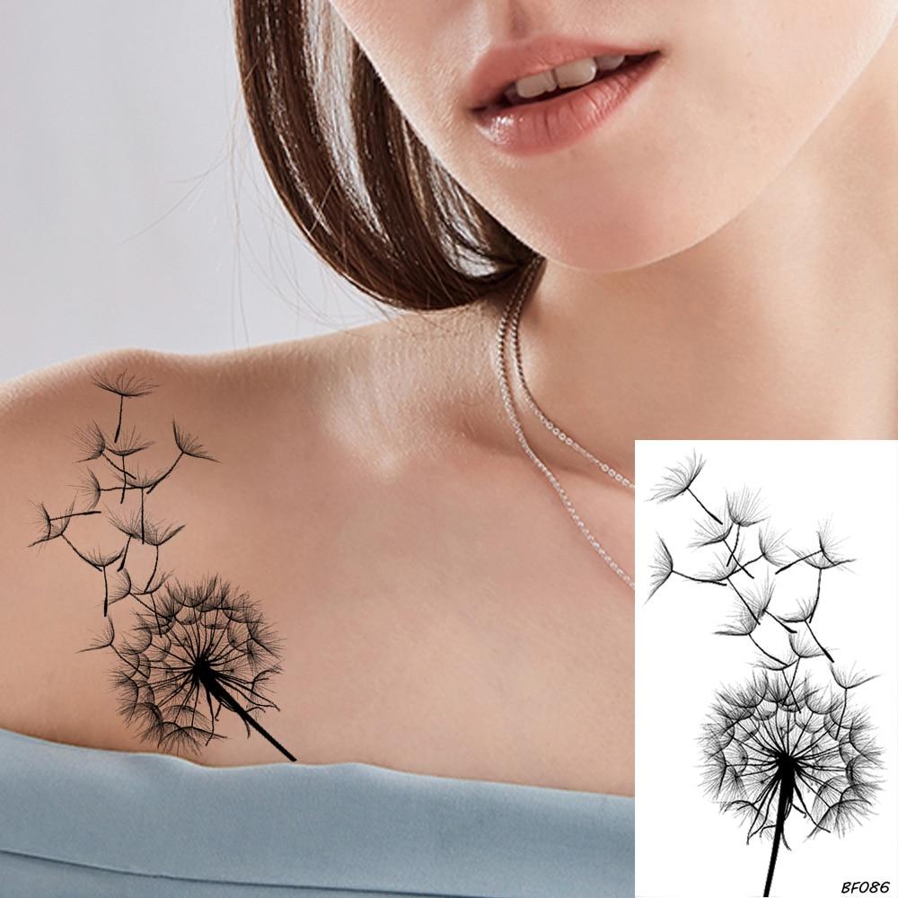 VANKIRS Little Sexy Clavicle Dandelion Black Plant Tattoos Stickers Women Girls Adhesive Tattoo Temporary Body Arm Art Fake Tato