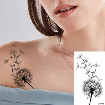 VANKIRS Little Sexy Clavicle Dandelion Black Plant Tattoos Stickers Women Girls Adhesive Tattoo Temporary Body Arm Art Fake Tato