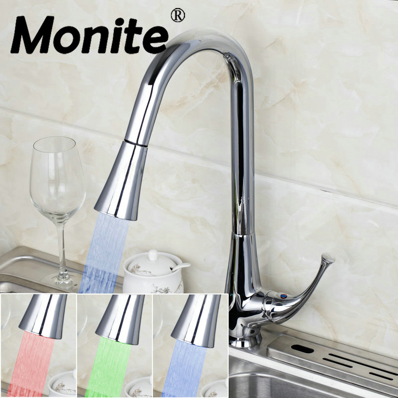 MONITE Pull Out LED Light Kitchen Tap Brand Polished Chrome Brass Water Kitchen Faucet Swivel Spout Vessel Sink Mixer Tap monite 8538 new chrome brass water kitchen faucet swivel spout pull out vessel sink taps single handle deck mounted mixer tap