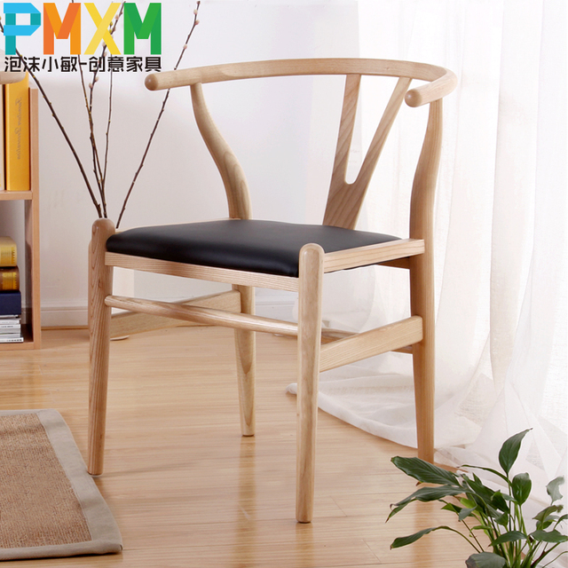 Us 199 0 Pu Leather Chair Solid Wood Dining Chair Cushion Wishbone Y Chair Leisure Chair Modern Minimalist Fashion Designer And Creative In Shampoo