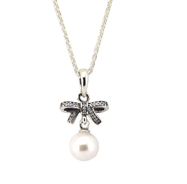Delicate Sentiments Pendant with White Pear and Cubic Zirconia and Necklace 100% Sterling Silver Fashion Jewelry Free Shipping