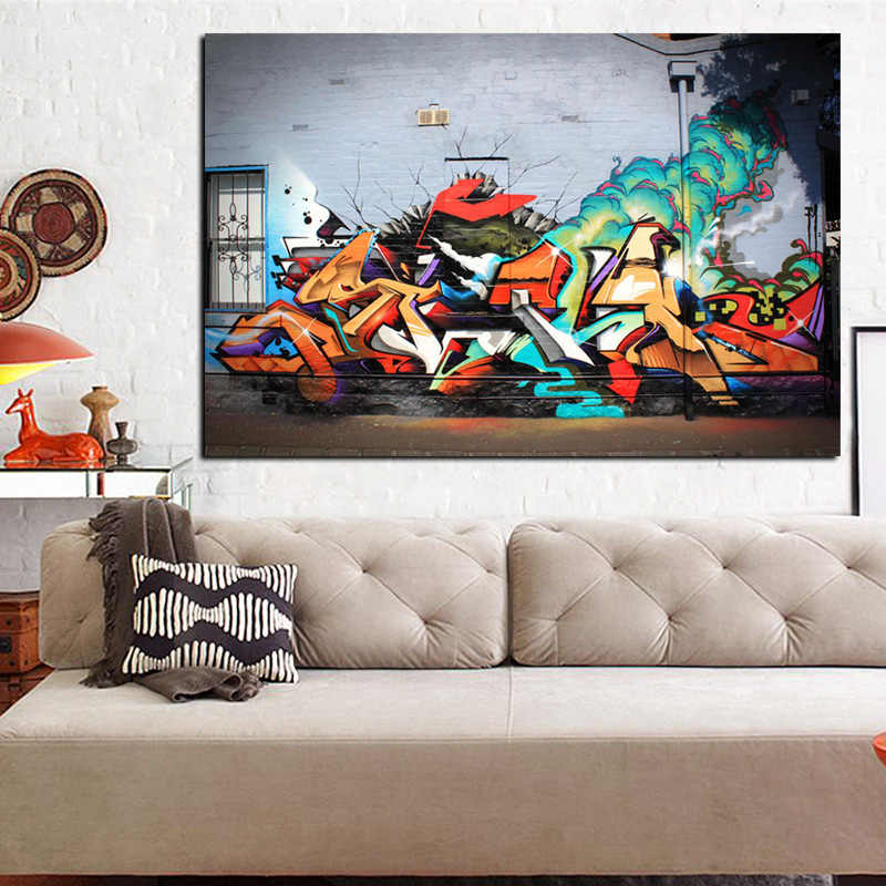HD Print Street Art Volcanic Explosion Graffiti Abstract Pop Art Painting on Canvas Poster Cuadros Wall Picture For Living Room