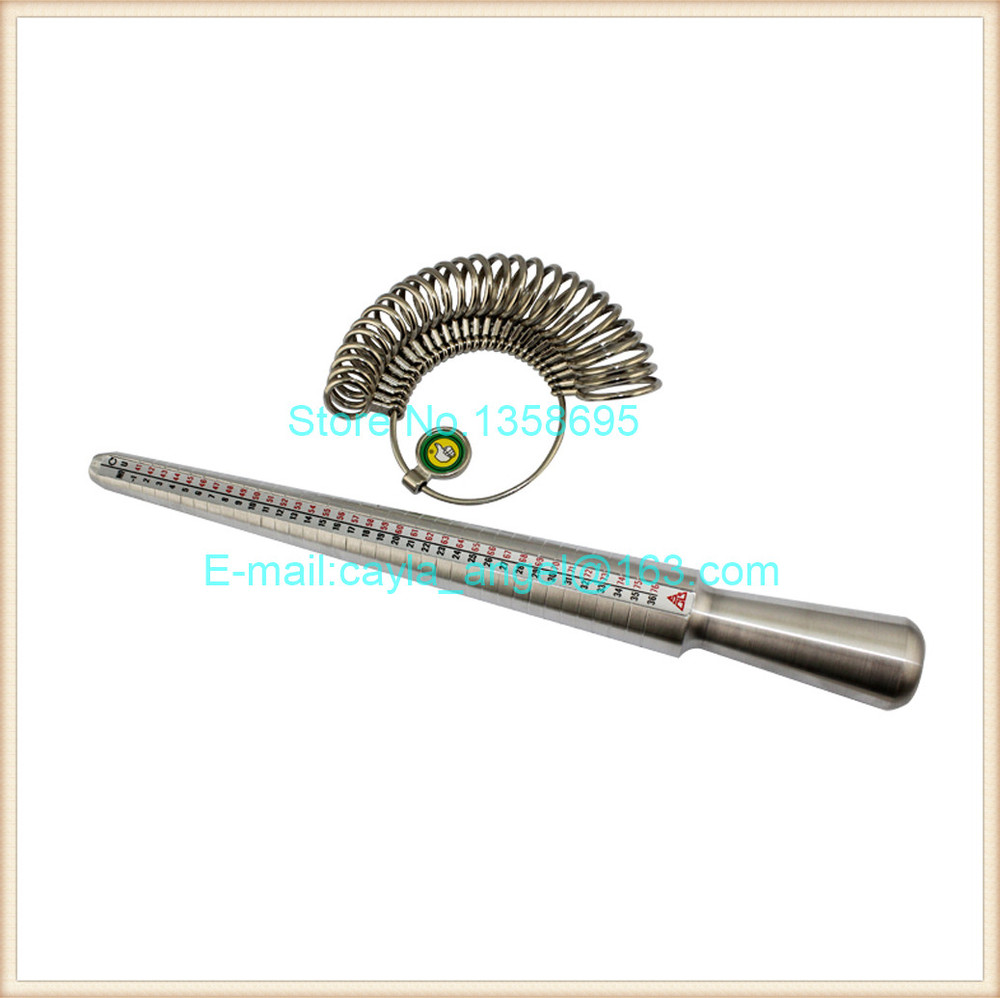 1Set Silver Ring Sizer Finger Sizing Jewelers Measuring Stick Metal finger Ring Gauge Set Mandrel US Size Jewelry Tool Equipment