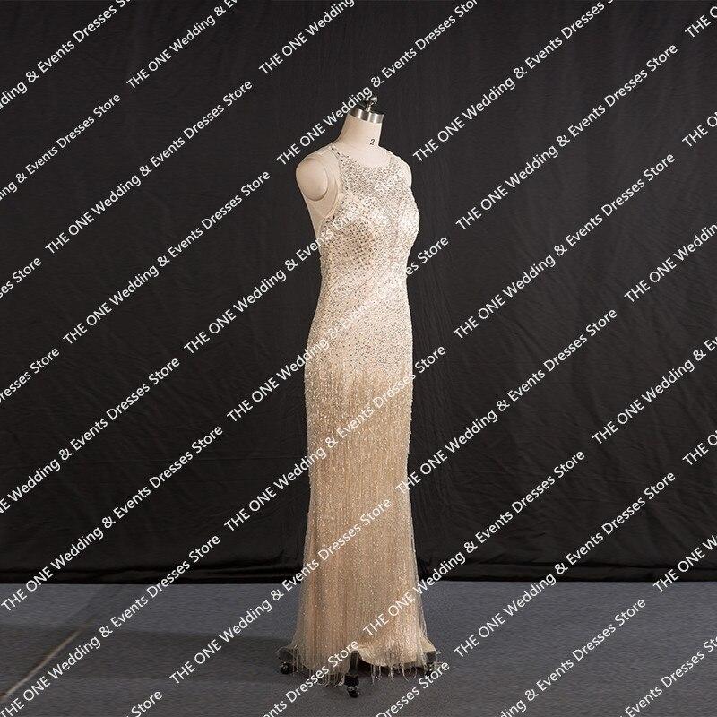 Fancy Glitter Long Evening Dress Luxury Rhinestone Tassel Great ...