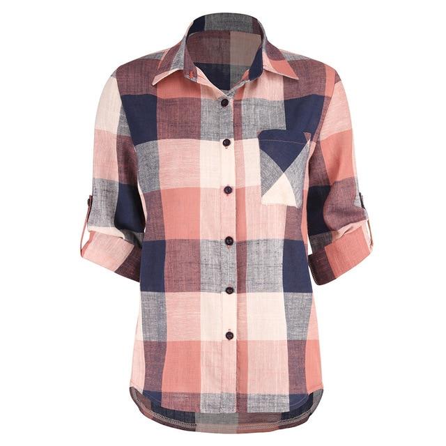 36dc7777 Women Summer Fall Gingham Checkered Casual Button Down Cotton Shirt  Boyfriend Half Sleeve Tartan Plaid Flannel Shirts Female