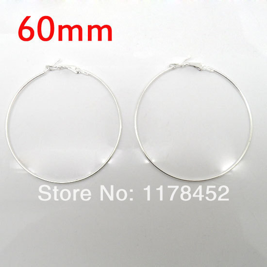 20 Pcs Silver Plated Basketball Wives Earring Hoops Dangle Drop 60mm Dia.(W01610 X 1)