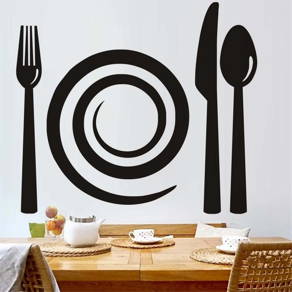 Fork Knife Spoon Wall Decals Removable PVC Wall Art Mural ...