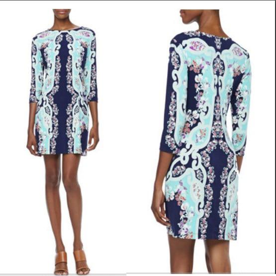 Couture autumn with Italian fashion fashion color printing knitting slim dress