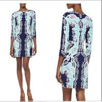 İtalyan moda moda renkli baskı örgü ile couture sonbahar slim dress