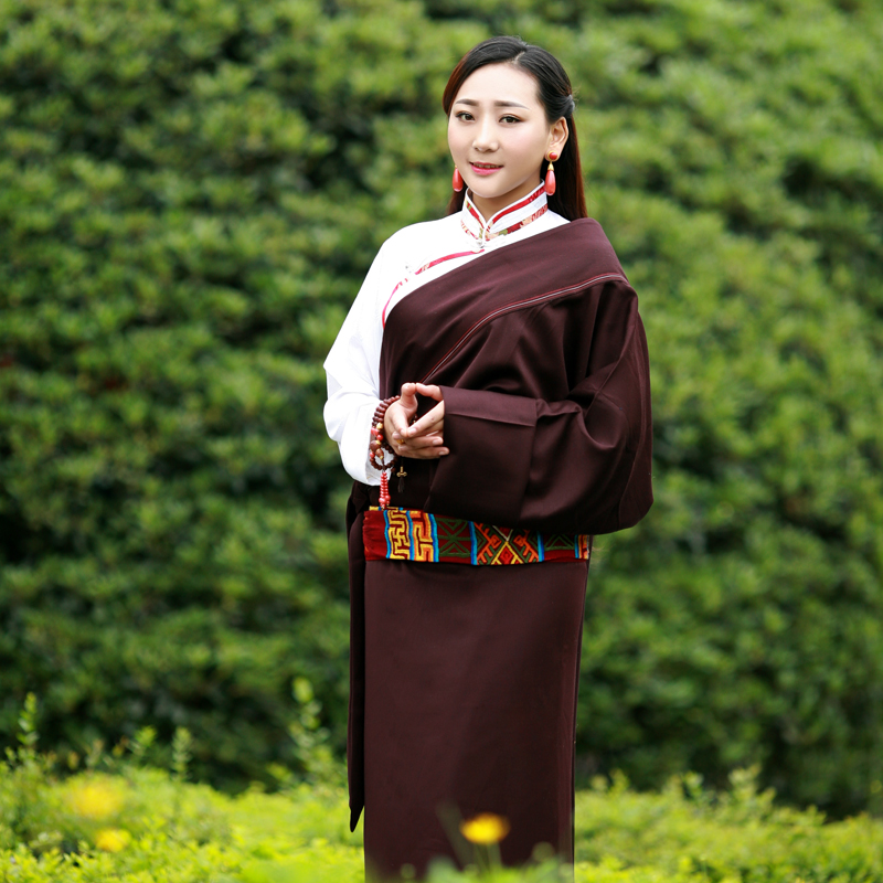 Tibetan Robe Woman Travel Holidays Tibet Dress New Lhasa Female Ando National Style Clothing Single Layer Tibetan Shirt + Robe