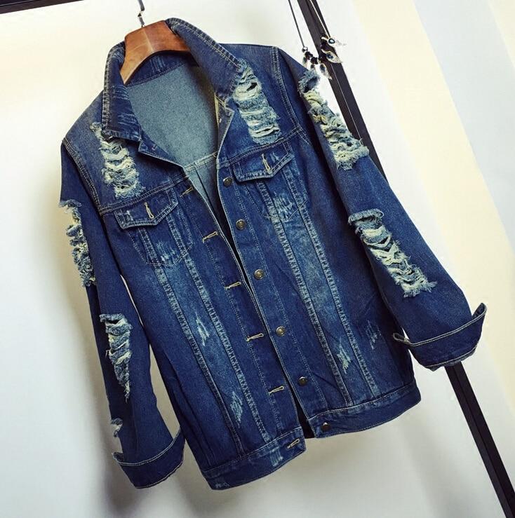 2016 new spring women fashion casual all match Hole denim jacket women long sleeve jean coat