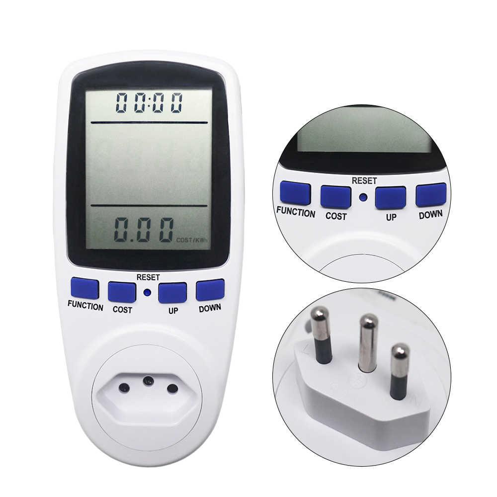 Uni Eropa Plug AC Power Meter Digital Wattmeter Watt Monitor Konsumsi Listrik Power Analyzer Energi Meter Mengukur Socket