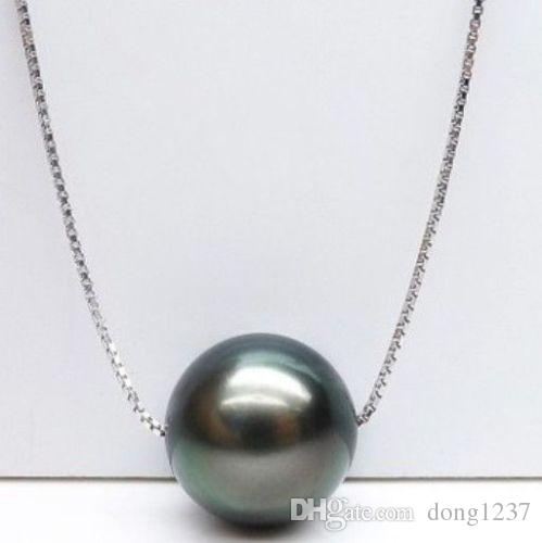 10-11mm collier de perles naturelles de tahiti vert paon 18 pouces chaîne en argent>>> livraison gratuite