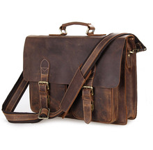 Men's Breifcase Crazy Horse Leather Vintage 15 inch Laptop Bags 2018 Man Casual Business Brown Shoulder Crossbody Tote Handbags anaph vintage crazy horse men s leather durable briefcases 15 laptop bag brown cowhide business tote bags 30 year warranty