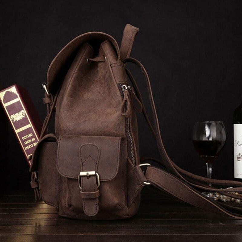 Vintage Daypack Crazy Horse peau de vache unisexe sac à dos école cartable voyage grande capacité en cuir véritable livre sacs à dos nouveau - 2