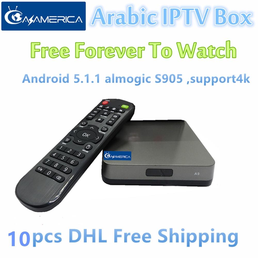 Free shipping 10pcs AzAmerica Arabic IPTV Box,600pcs live tv + 1000pcs Movies Free forever каталог live forever