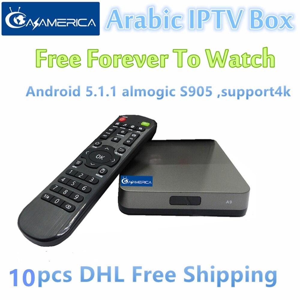 Free shipping 10pcs AzAmerica Arabic IPTV Box,600pcs live tv + 1000pcs Movies Free forever arabic iptv receiver arabic iptv box free forever free 1000 europe america africa middel east tv support cccam cline