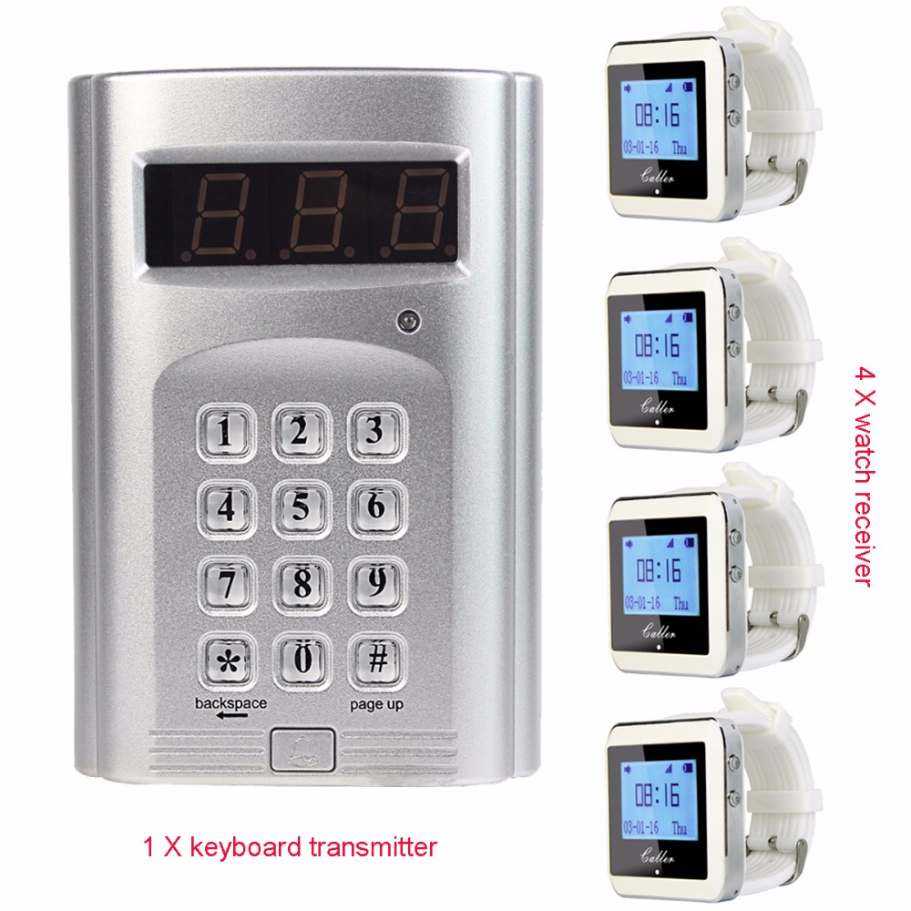 Wireless Paging System Hotel Waiter Pager with 1 Keyboard Transmitter + 4 Watch Receiver Pager F3288B one set wireless system waiter caller bell service 1 watch wrist pager with 5pcs table customer button ce passed