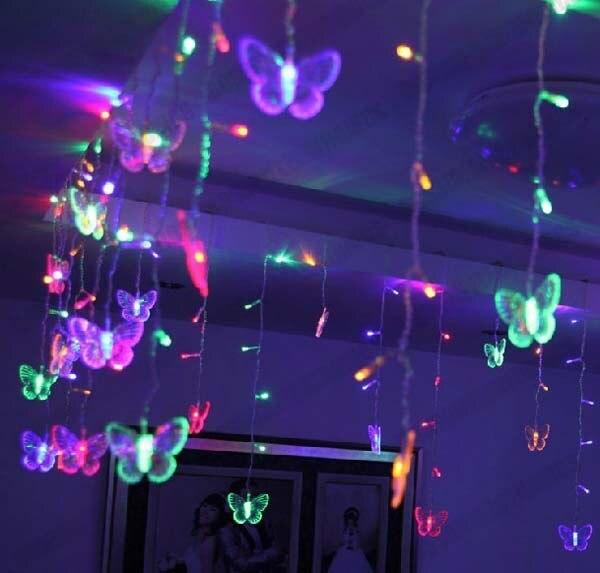 3,5 Mt Rgb Led Urlaub Vorhang Dekoration Hochzeit Lichter String Streifen 100 Smds 16 Schmetterling 110 V/220 V Eu/uk/us/au Stecker