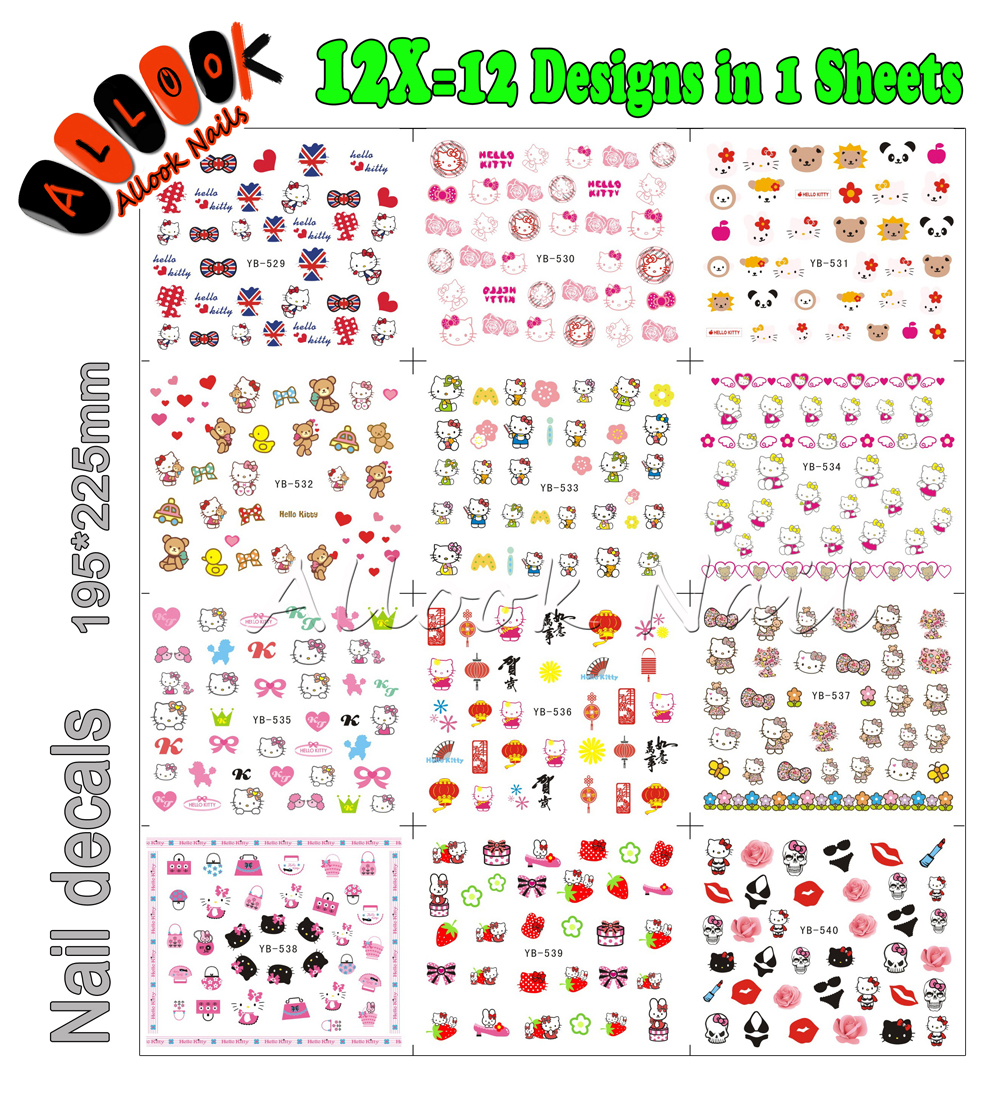 Nail Art(Large Piece YB529-540 12 DESIGNS IN 1)Cartoon Pet Hello Kitty Nail Art Water Transfer Sticker Decal For Nail nail art large piece yb529 540 12 designs in 1 cartoon pet hello kitty nail art water transfer sticker decal for nail