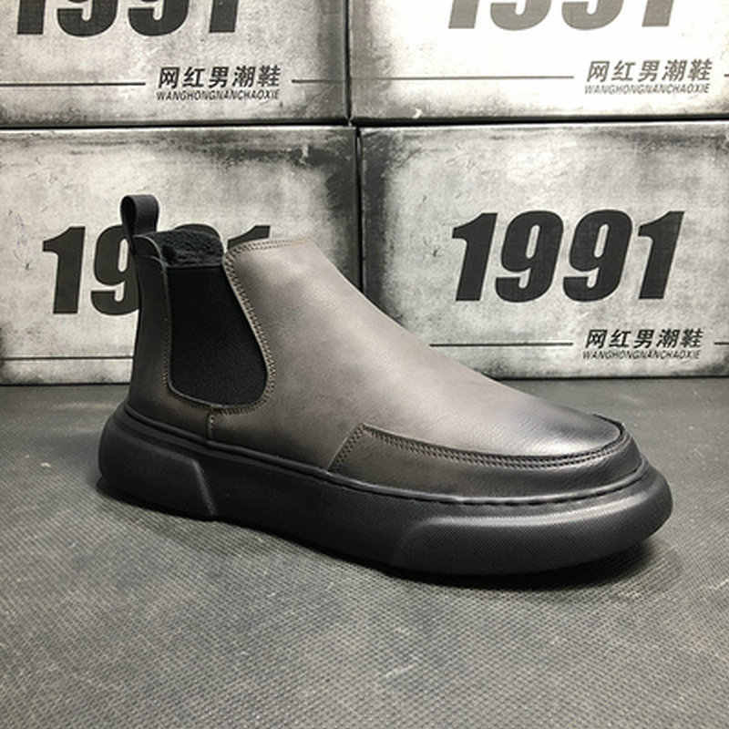 38c883f3fd76d3 ... 2019 High Top Oxford Boots Men Flats Platform Casual Shoes Autumn  Fashion Slip On chelsea ankle